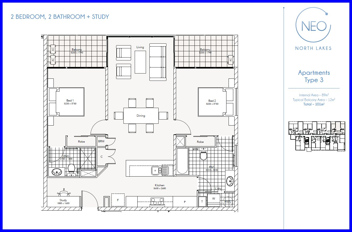 Two bedroom apartment floor plans neo north lakes for Apartment unit floor plans